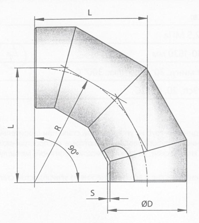 Схема секторного сварного отвода по ОСТ 36-21-77