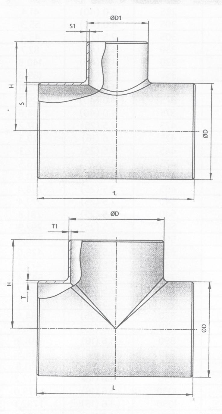 Схема тройников сварных по ОСТ 34 10.752(4)-97